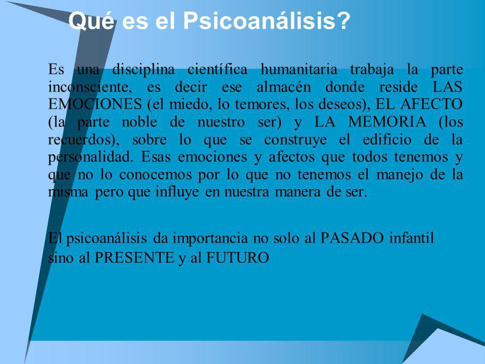 Qué es el Psicoanálisis? Es una disciplina científica humanitaria trabaja la parte inconsciente, es decir ese almacén donde reside LAS EMOCIONES (el m