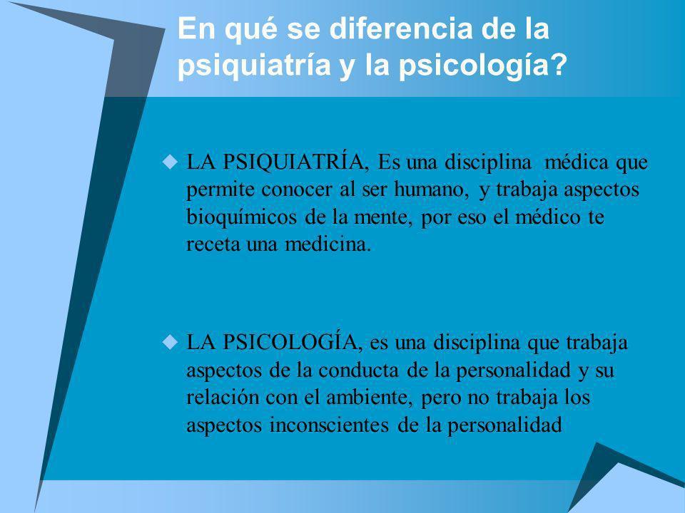 En qué se diferencia de la psiquiatría y la psicología? LA PSIQUIATRÍA, Es una disciplina médica que permite conocer al ser humano, y trabaja aspectos