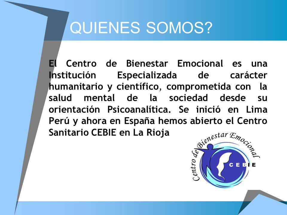 El Centro de Bienestar Emocional es una Institución Especializada de carácter humanitario y científico, comprometida con la salud mental de la socieda