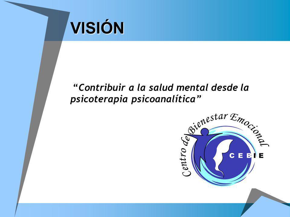 MISIÓN MISIÓN Somos una institución privada, líder, con identidad psicoterapéutica psicoanalítica, comprometida con la salud mental de la sociedad y dedicada a la prevención, atención e investigación.