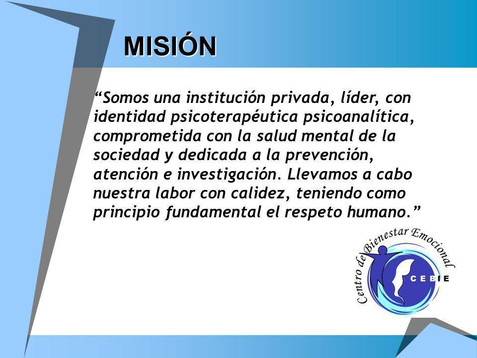 MISIÓN MISIÓN Somos una institución privada, líder, con identidad psicoterapéutica psicoanalítica, comprometida con la salud mental de la sociedad y d