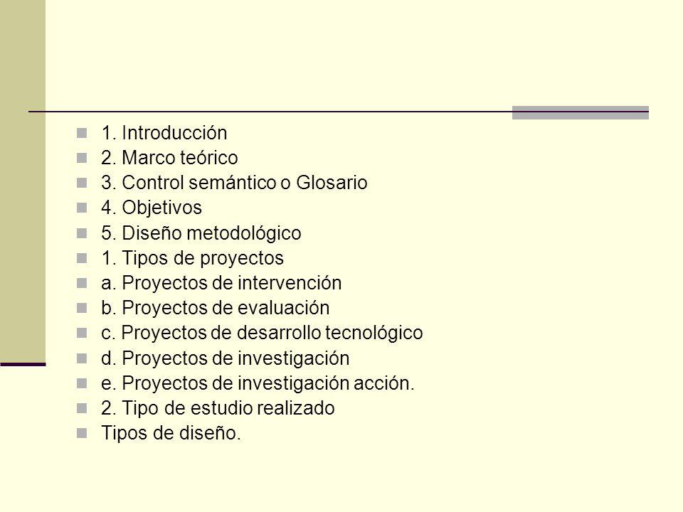 1. Introducción 2. Marco teórico 3. Control semántico o Glosario 4. Objetivos 5. Diseño metodológico 1. Tipos de proyectos a. Proyectos de intervenció