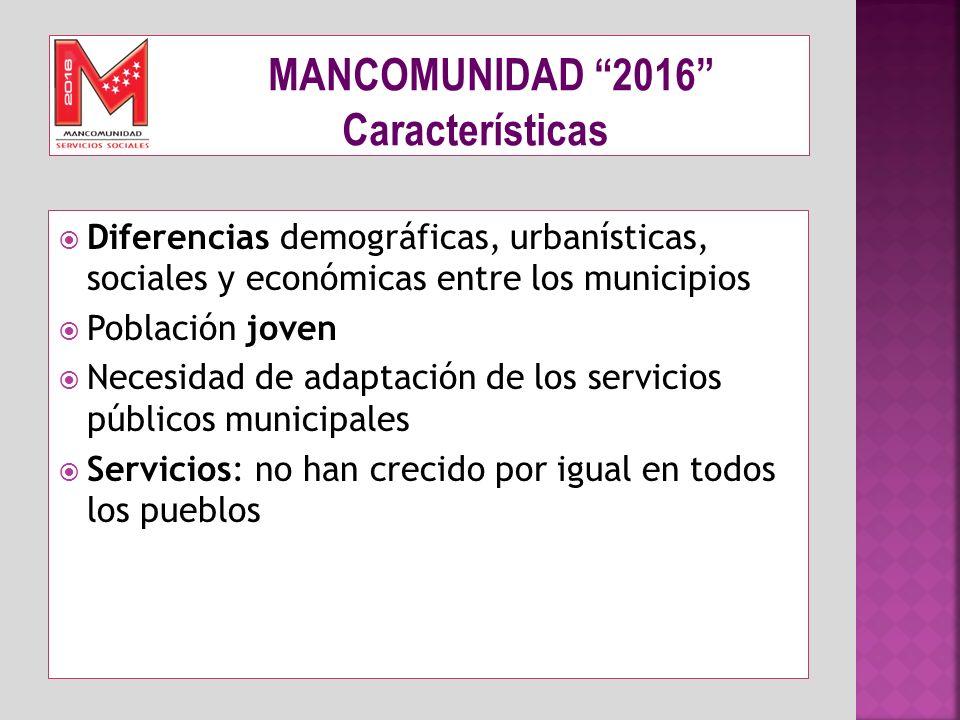 Diferencias demográficas, urbanísticas, sociales y económicas entre los municipios Población joven Necesidad de adaptación de los servicios públicos m
