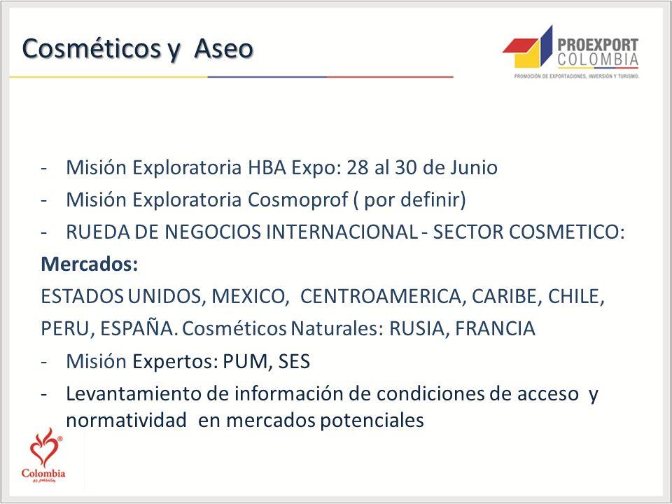 Cosméticos y Aseo -Misión Exploratoria HBA Expo: 28 al 30 de Junio -Misión Exploratoria Cosmoprof ( por definir) -RUEDA DE NEGOCIOS INTERNACIONAL - SECTOR COSMETICO: Mercados: ESTADOS UNIDOS, MEXICO, CENTROAMERICA, CARIBE, CHILE, PERU, ESPAÑA.