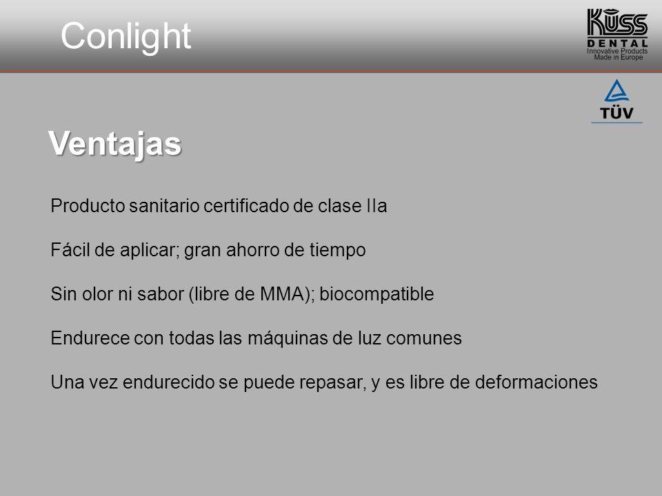 Conlight Producto sanitario certificado de clase IIa Fácil de aplicar; gran ahorro de tiempo Sin olor ni sabor (libre de MMA); biocompatible Endurece