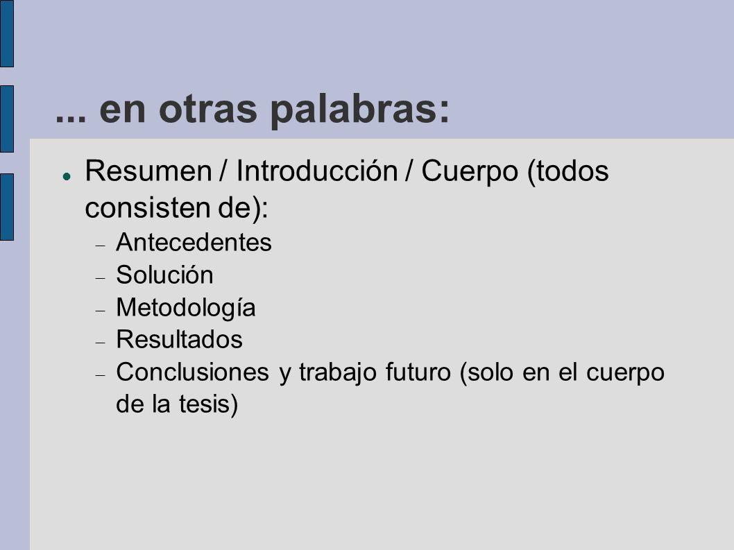 ... en otras palabras: Resumen / Introducción / Cuerpo (todos consisten de): Antecedentes Solución Metodología Resultados Conclusiones y trabajo futur