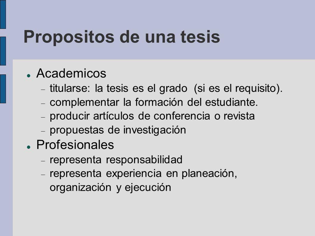Academicos titularse: la tesis es el grado (si es el requisito). complementar la formación del estudiante. producir artículos de conferencia o revista