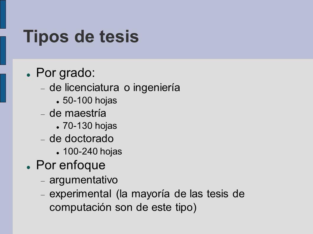 Por grado: de licenciatura o ingeniería 50-100 hojas de maestría 70-130 hojas de doctorado 100-240 hojas Por enfoque argumentativo experimental (la ma