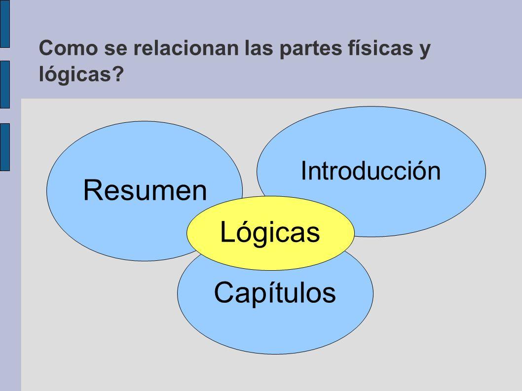 Como se relacionan las partes físicas y lógicas? Resumen Introducción Capítulos Lógicas