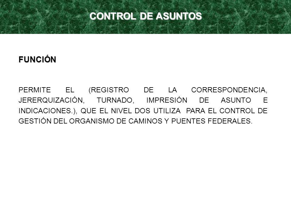 FUNCIÓN PERMITE EL (REGISTRO DE LA CORRESPONDENCIA, JERERQUIZACIÓN, TURNADO, IMPRESIÓN DE ASUNTO E INDICACIONES.), QUE EL NIVEL DOS UTILIZA PARA EL CO