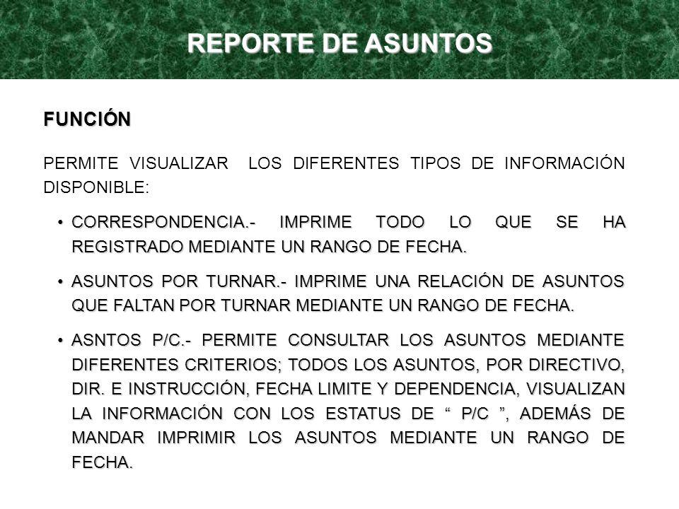 REPORTE DE ASUNTOS FUNCIÓN PERMITE VISUALIZAR LOS DIFERENTES TIPOS DE INFORMACIÓN DISPONIBLE: CORRESPONDENCIA.- IMPRIME TODO LO QUE SE HA REGISTRADO M