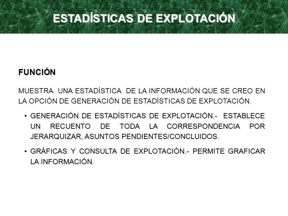 FUNCIÓN MUESTRA UNA ESTADÍSTICA DE LA INFORMACIÓN QUE SE CREO EN LA OPCIÓN DE GENERACIÓN DE ESTADÍSTICAS DE EXPLOTACIÓN. GENERACIÓN DE ESTADÍSTICAS DE