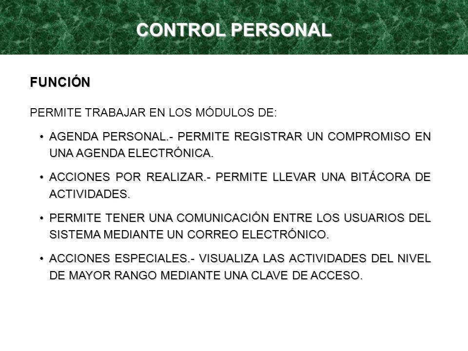 CONTROL PERSONAL FUNCIÓN PERMITE TRABAJAR EN LOS MÓDULOS DE: AGENDA PERSONAL.- PERMITE REGISTRAR UN COMPROMISO EN UNA AGENDA ELECTRÓNICA.AGENDA PERSON