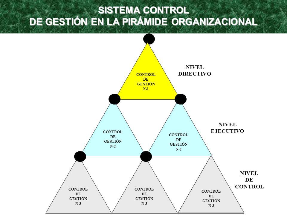 SISTEMA CONTROL DE GESTIÓN EN LA PIRÁMIDE ORGANIZACIONAL CONTROL DE GESTIÓN N-1 CONTROL DE GESTIÓN N-2 CONTROL DE GESTIÓN N-2 CONTROL DE GESTIÓN N-3 C
