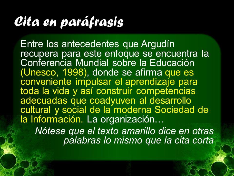 Cita en paráfrasis Entre los antecedentes que Argudín recupera para este enfoque se encuentra la Conferencia Mundial sobre la Educación (Unesco, 1998)