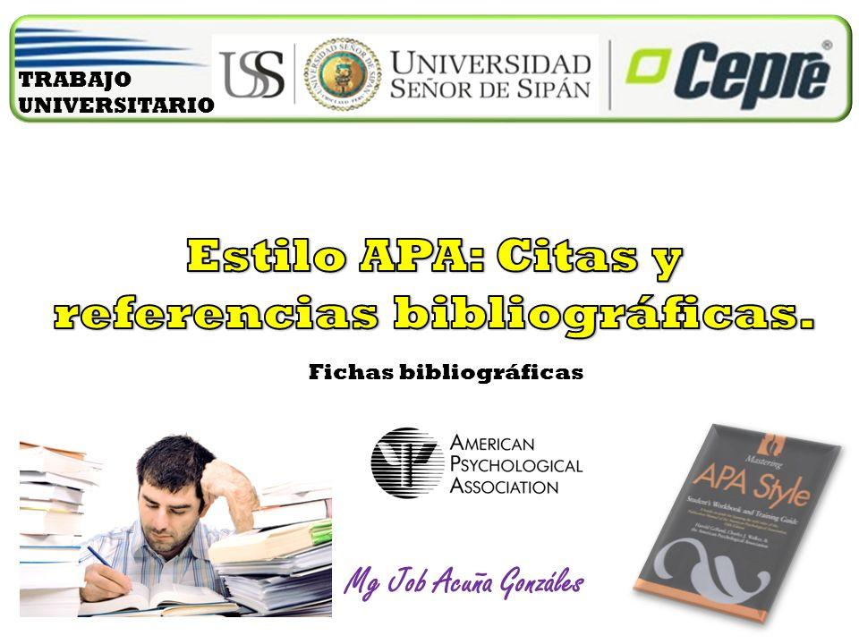 Mg Job Acuña Gonzáles Fichas bibliográficas TRABAJO UNIVERSITARIO