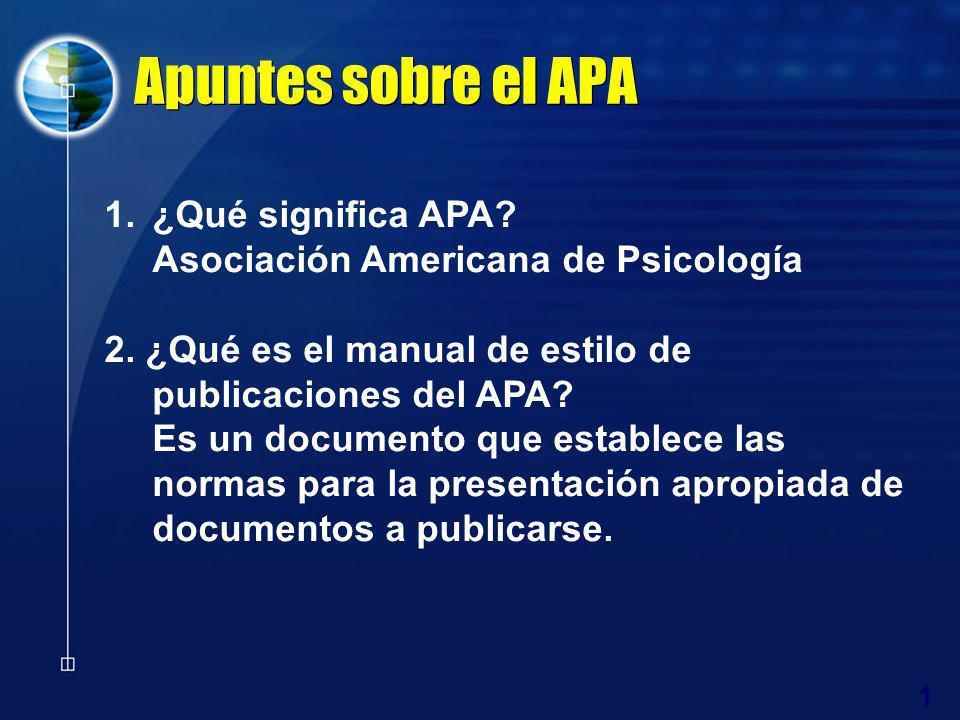 1 Apuntes sobre el APA 1.¿Qué significa APA? Asociación Americana de Psicología 2. ¿Qué es el manual de estilo de publicaciones del APA? Es un documen