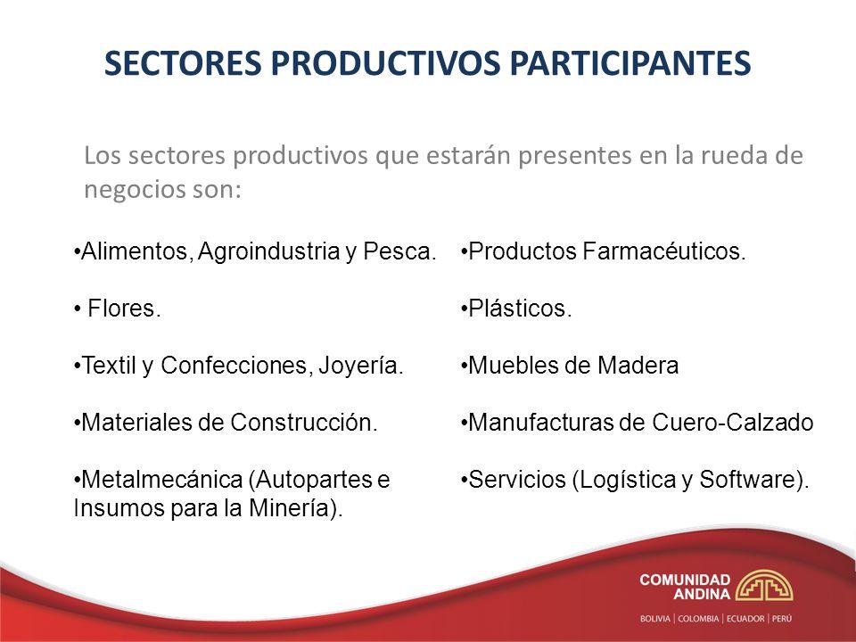 SECTORES PRODUCTIVOS PARTICIPANTES Los sectores productivos que estarán presentes en la rueda de negocios son: Alimentos, Agroindustria y Pesca. Flore