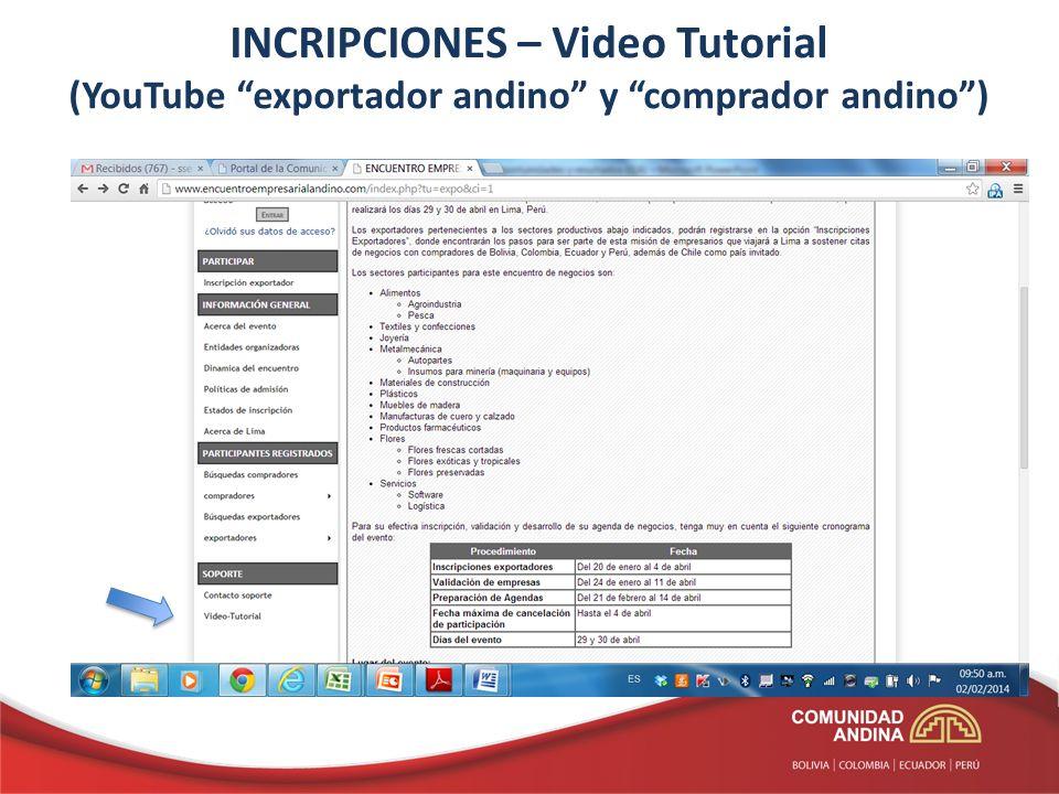 INCRIPCIONES – Video Tutorial (YouTube exportador andino y comprador andino)
