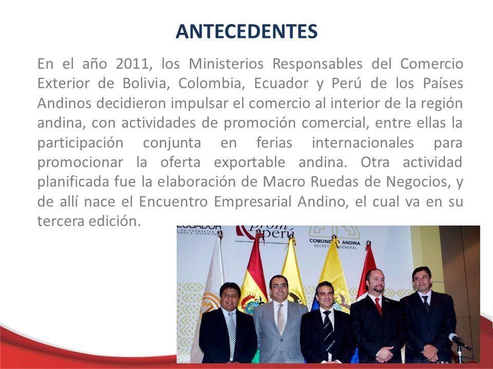 ANTECEDENTES En el año 2011, los Ministerios Responsables del Comercio Exterior de Bolivia, Colombia, Ecuador y Perú de los Países Andinos decidieron