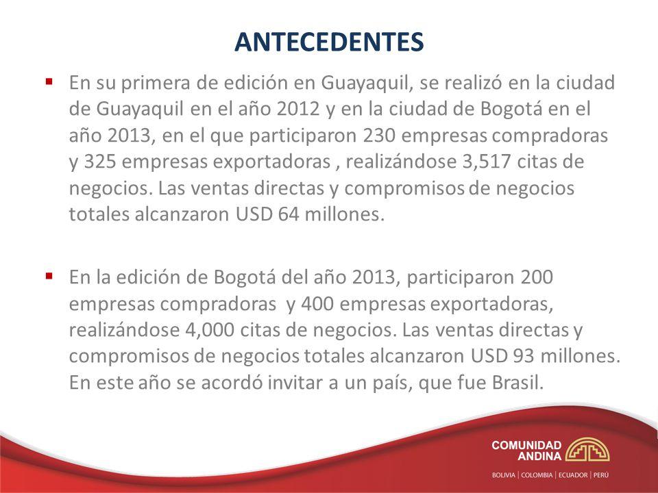 ANTECEDENTES En su primera de edición en Guayaquil, se realizó en la ciudad de Guayaquil en el año 2012 y en la ciudad de Bogotá en el año 2013, en el