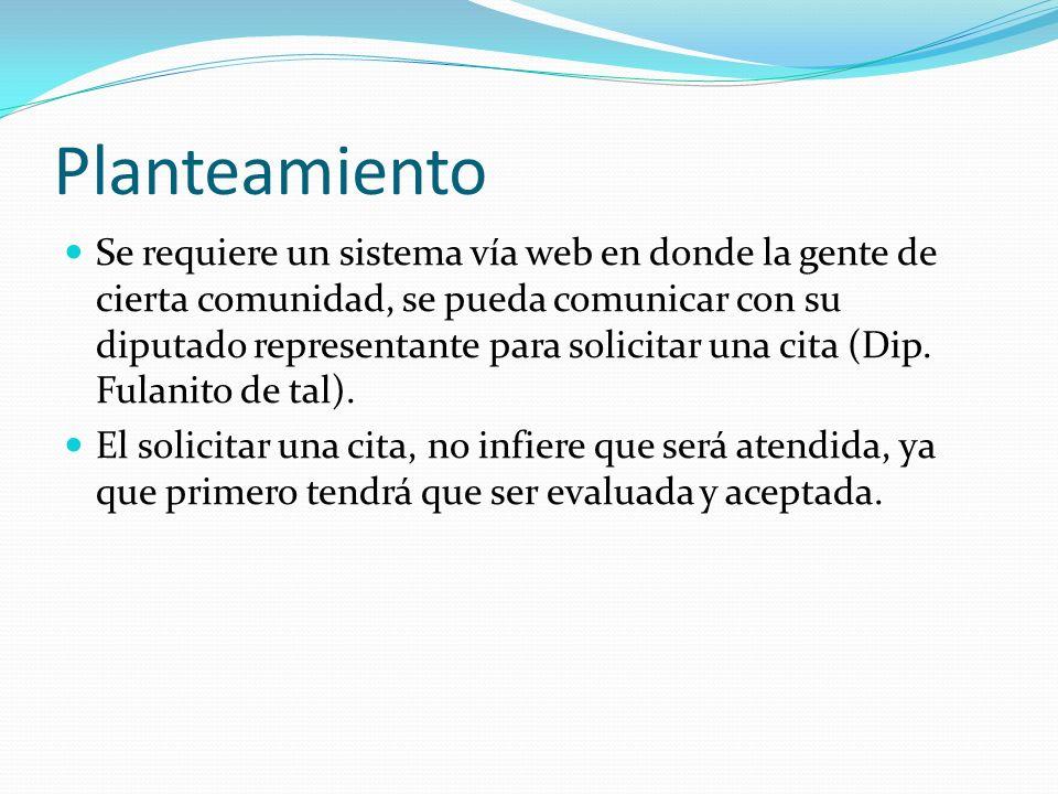 Planteamiento Se requiere un sistema vía web en donde la gente de cierta comunidad, se pueda comunicar con su diputado representante para solicitar una cita (Dip.