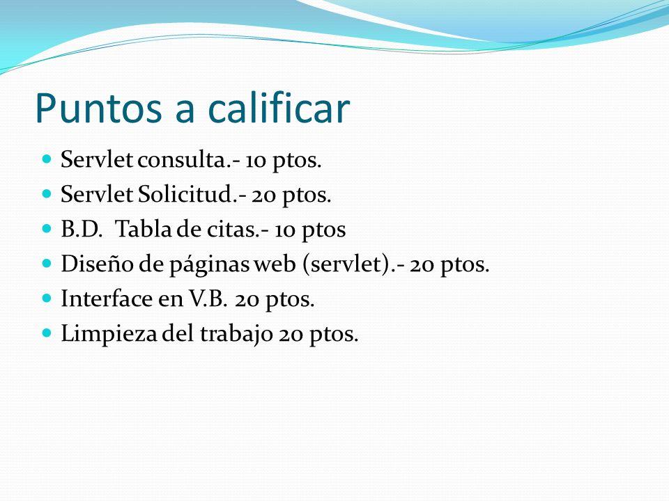 Puntos a calificar Servlet consulta.- 10 ptos.Servlet Solicitud.- 20 ptos.