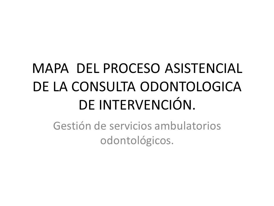 MAPA DEL PROCESO ASISTENCIAL DE LA CONSULTA ODONTOLOGICA DE INTERVENCIÓN. Gestión de servicios ambulatorios odontológicos.