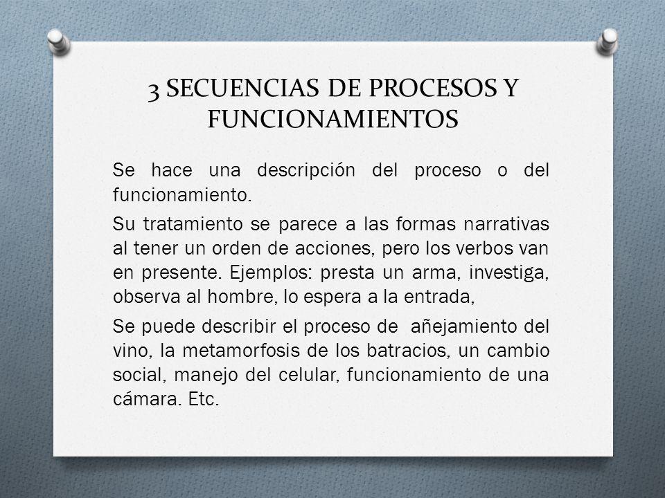 3 SECUENCIAS DE PROCESOS Y FUNCIONAMIENTOS Se hace una descripción del proceso o del funcionamiento. Su tratamiento se parece a las formas narrativas