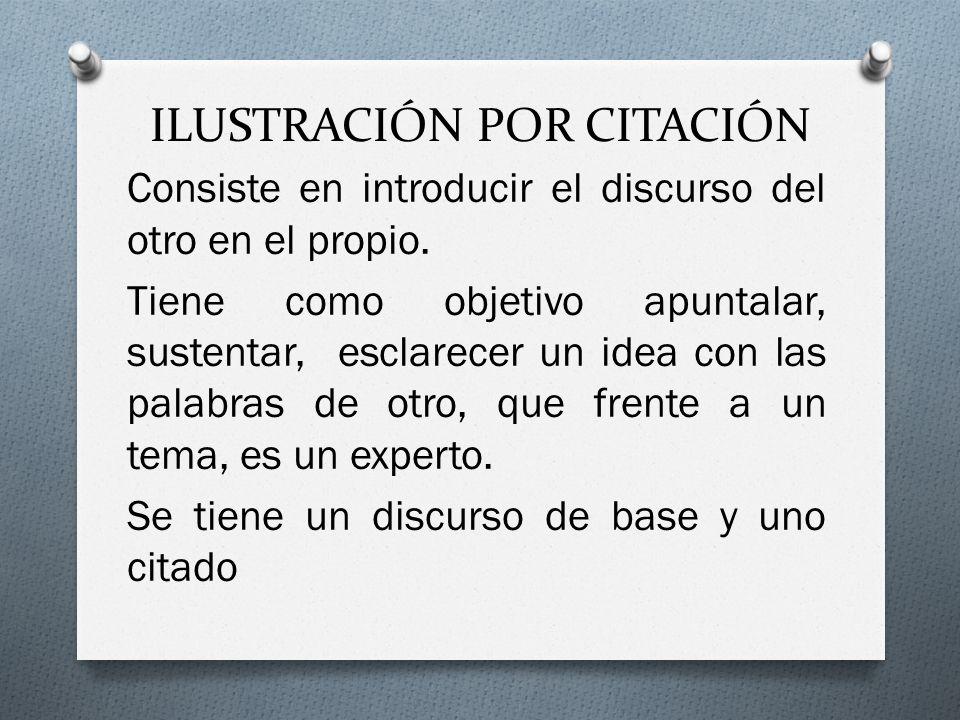 ILUSTRACIÓN POR CITACIÓN Consiste en introducir el discurso del otro en el propio.