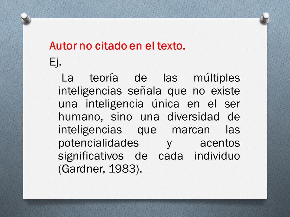 Autor no citado en el texto. Ej. La teoría de las múltiples inteligencias señala que no existe una inteligencia única en el ser humano, sino una diver