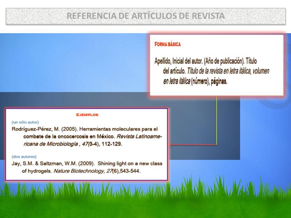 REFERENCIA DE ARTÍCULOS DE REVISTA