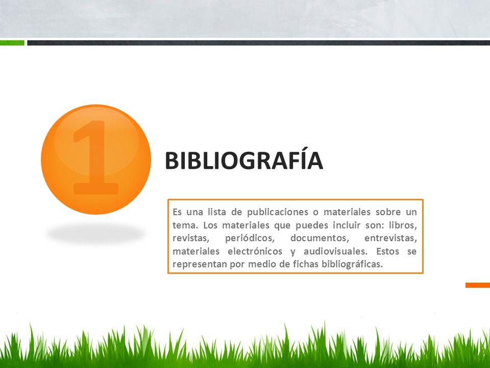 BIBLIOGRAFÍA Es una lista de publicaciones o materiales sobre un tema. Los materiales que puedes incluir son: libros, revistas, periódicos, documentos