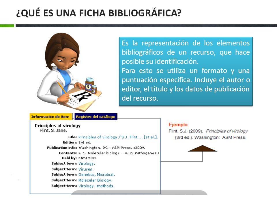 Es la representación de los elementos bibliográficos de un recurso, que hace posible su identificación. Para esto se utiliza un formato y una puntuaci