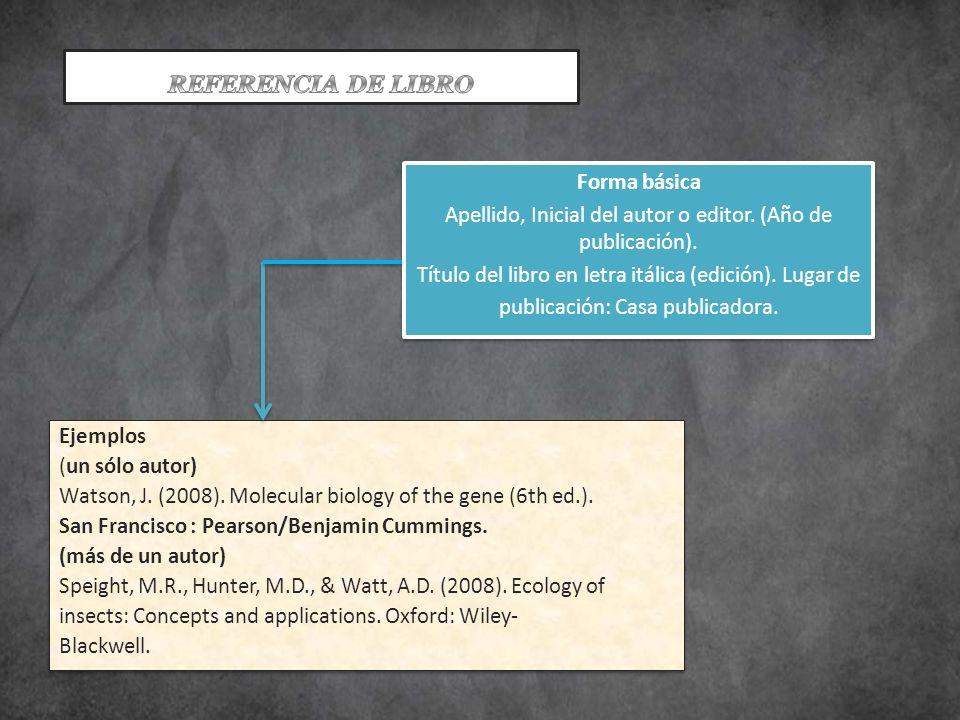 PARTE DE UN LIBRO Forma básica Apellido, Inicial del autor o editor.