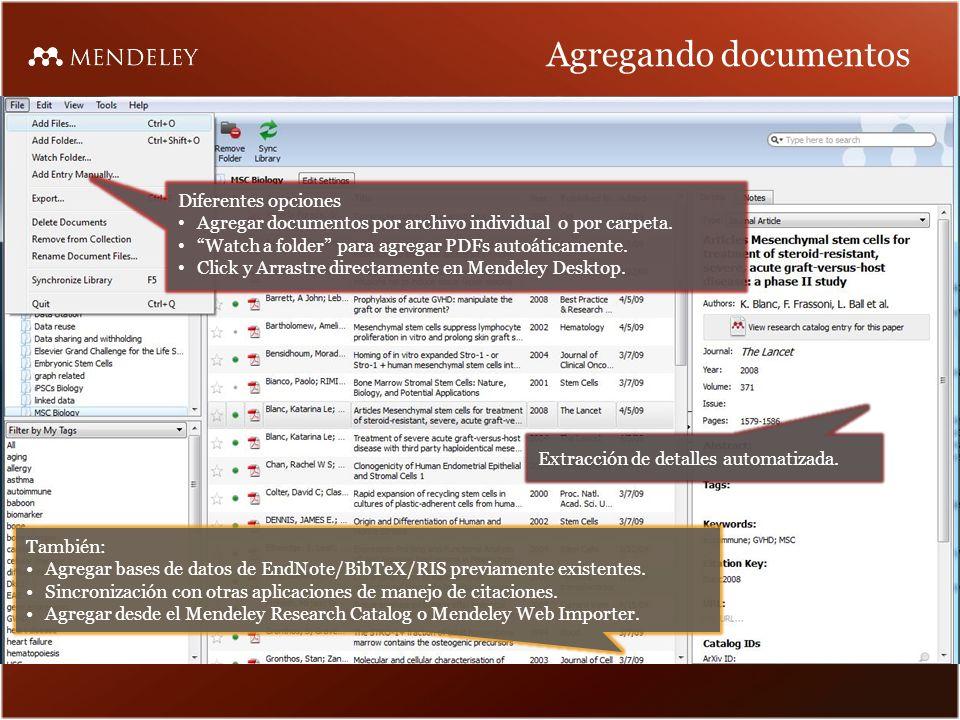 Agregando documentos Diferentes opciones Agregar documentos por archivo individual o por carpeta.