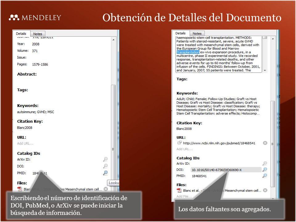 Obtención de Detalles del Documento Escribiendo el número de identificación de DOI, PubMed, o ArXiv se puede iniciar la búsqueda de información.