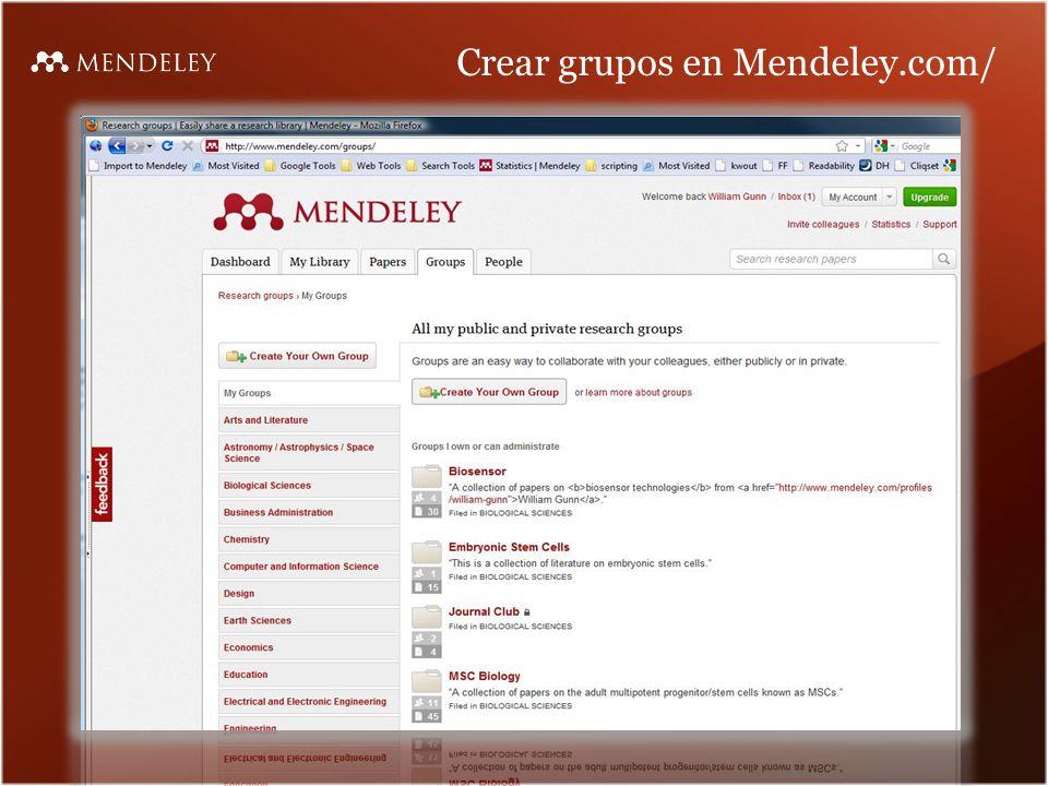 Crear grupos en Mendeley.com/