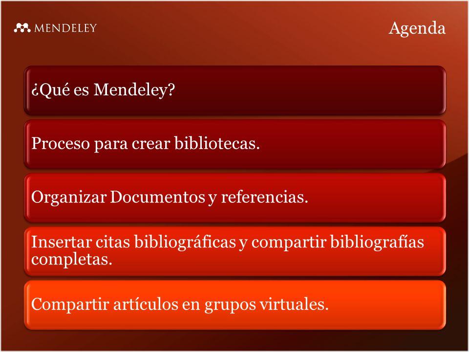 Agenda ¿Qué es Mendeley?Proceso para crear bibliotecas.Organizar Documentos y referencias.