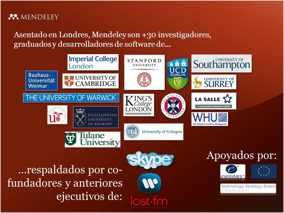 Asentado en Londres, Mendeley son +30 investigadores, graduados y desarrolladores de software de......respaldados por co- fundadores y anteriores ejecutivos de: Apoyados por: