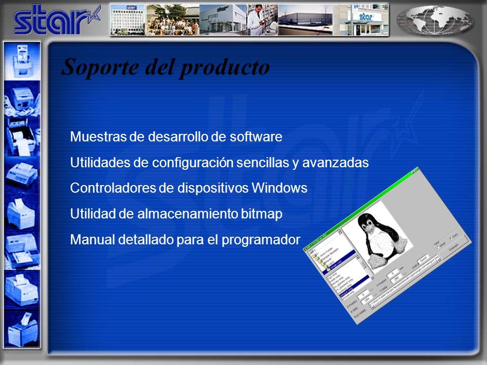 Soporte del producto Muestras de desarrollo de software Utilidades de configuración sencillas y avanzadas Controladores de dispositivos Windows Utilidad de almacenamiento bitmap Manual detallado para el programador