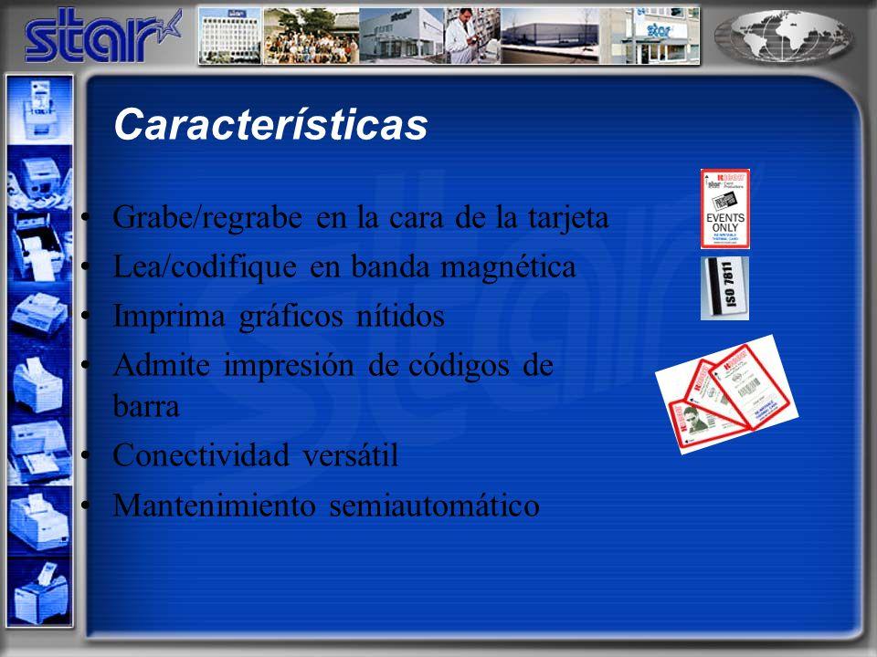 Grabe/regrabe en la cara de la tarjeta Lea/codifique en banda magnética Imprima gráficos nítidos Admite impresión de códigos de barra Conectividad versátil Mantenimiento semiautomático Características