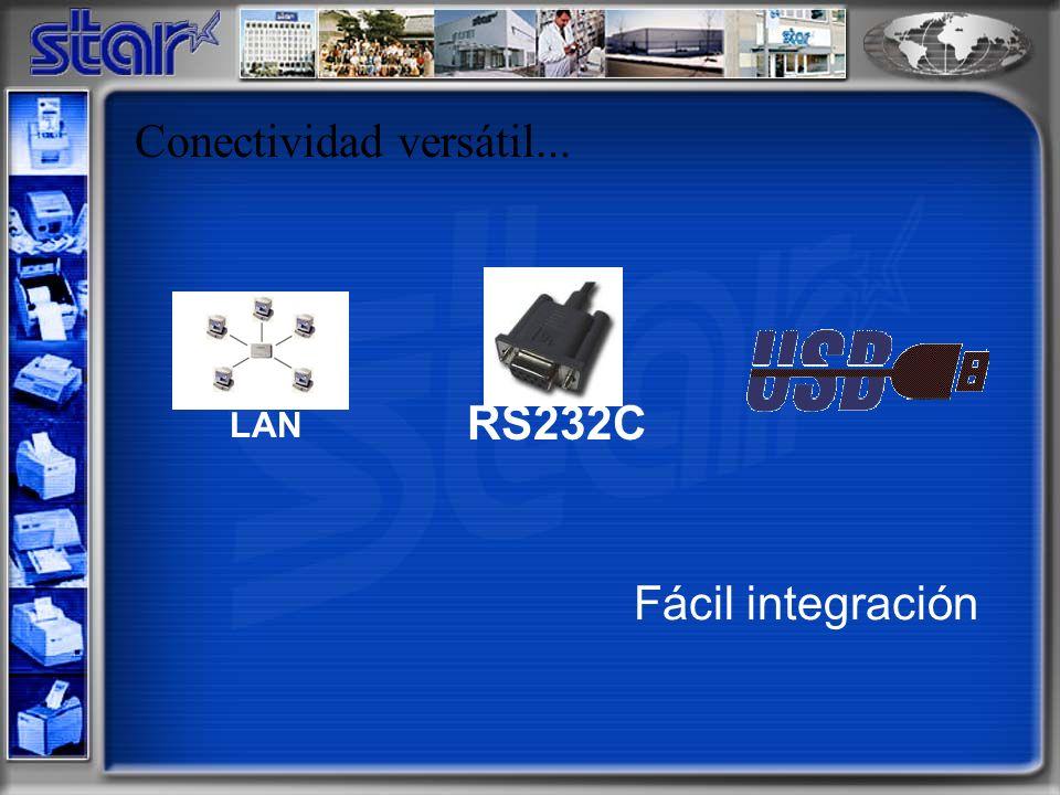 Conectividad versátil... RS232C LAN Fácil integración