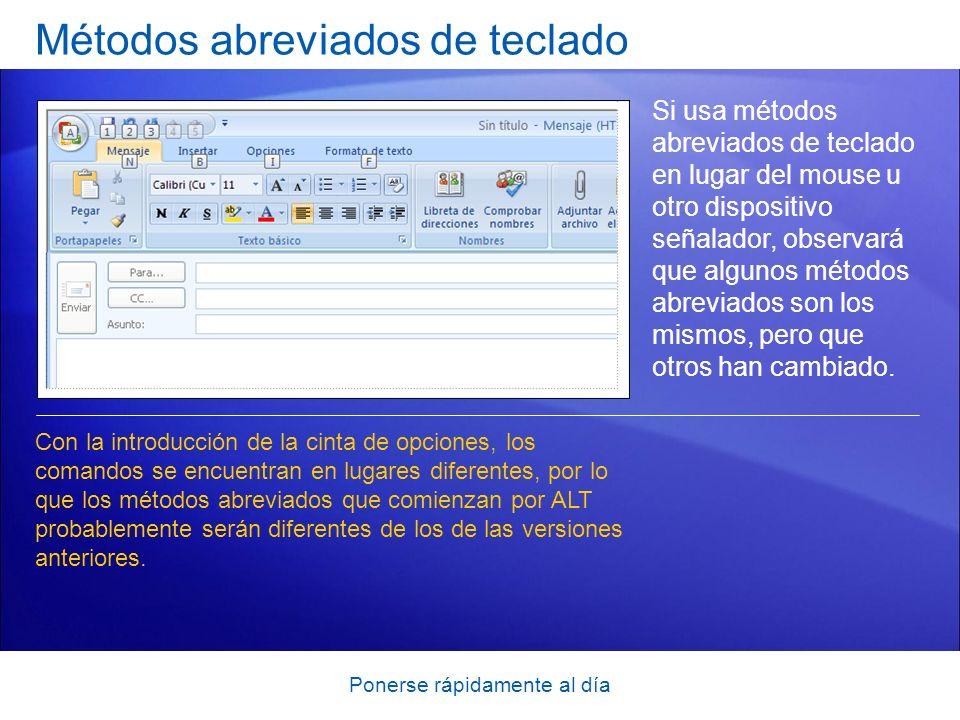 Ponerse rápidamente al día Métodos abreviados de teclado Si usa métodos abreviados de teclado en lugar del mouse u otro dispositivo señalador, observa