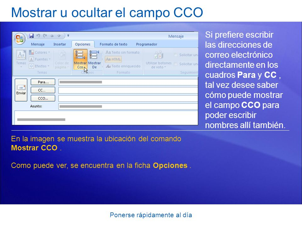 Ponerse rápidamente al día Mostrar u ocultar el campo CCO Si prefiere escribir las direcciones de correo electrónico directamente en los cuadros Para y CC, tal vez desee saber cómo puede mostrar el campo CCO para poder escribir nombres allí también.