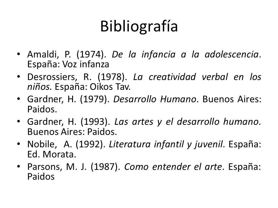 Bibliografía Amaldi, P. (1974). De la infancia a la adolescencia. España: Voz infanza Desrossiers, R. (1978). La creatividad verbal en los niños. Espa