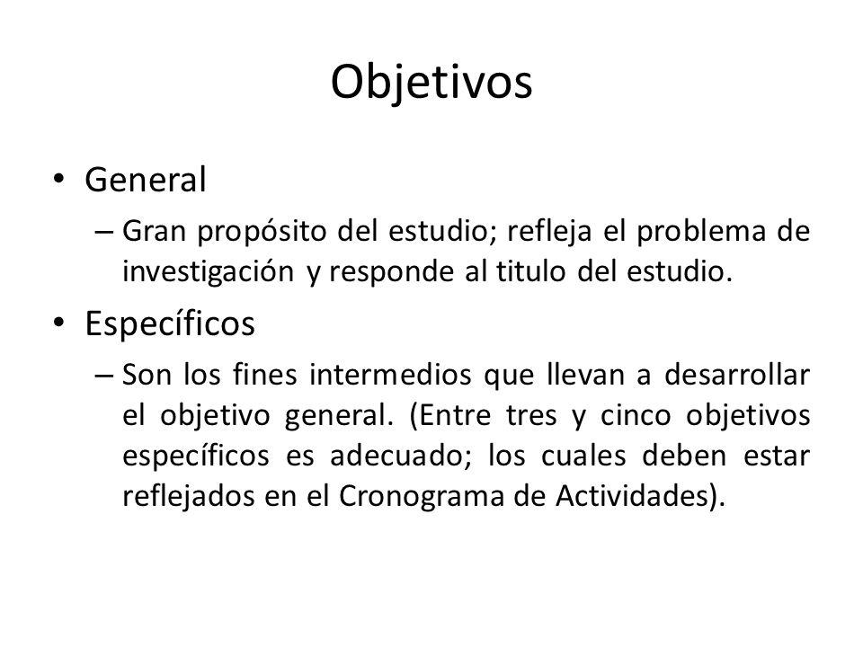 Objetivos General – Gran propósito del estudio; refleja el problema de investigación y responde al titulo del estudio. Específicos – Son los fines int