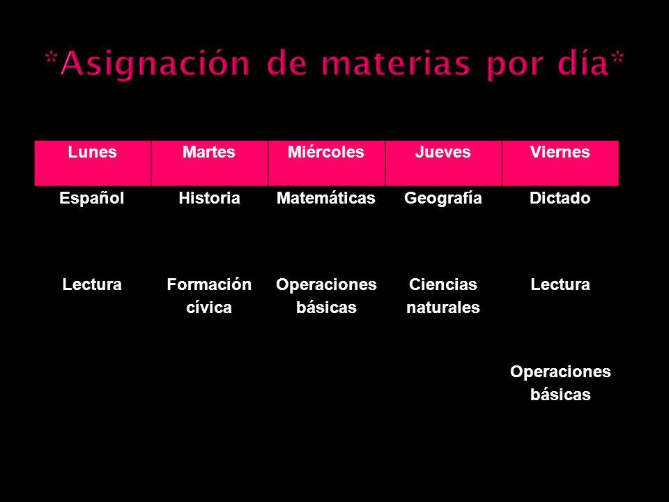 LunesMartesMiércolesJuevesViernes Español HistoriaMatemáticasGeografíaDictado Lectura Formación cívica Operaciones básicas Ciencias naturales Lectura