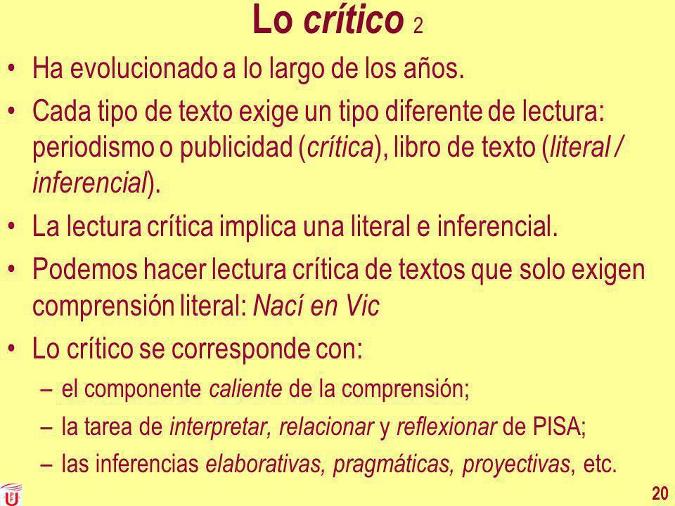 Lo crítico 2 Ha evolucionado a lo largo de los años. Cada tipo de texto exige un tipo diferente de lectura: periodismo o publicidad ( crítica ), libro