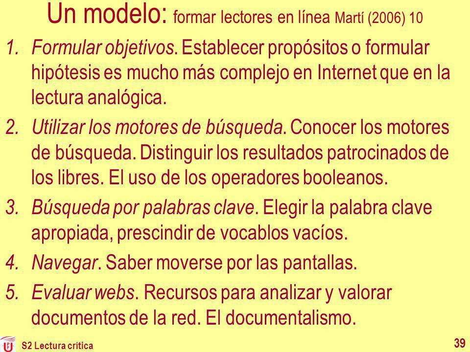 S2 Lectura crítica Un modelo: formar lectores en línea Martí (2006) 10 1. Formular objetivos. Establecer propósitos o formular hipótesis es mucho más